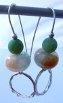 Sterling silver earrings with green, light blue and orange crackled agates