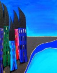 Painting 40x50cm acrylic townhouse theme