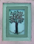 Fused glass cherry tree with distressed wood frame