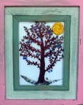 Fused glass plum tree in distressed wood frame