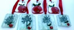 Fused glass fruit tree and red apple decorations