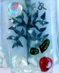 Fused glass fruit tree plus red apple (frosted) decoration close-up