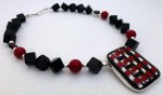 Necklace black onyx and red coral, 16 tiny red squares glass pendant