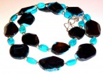 Necklace, black agate and turquoise