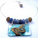 Necklace blue matte agates, the sea glass pendants.