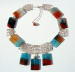 Sterling Silver knitted wire and agates necklace