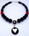 Double-heart fused-glass necklace with onyx, red coral and agate