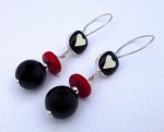Dangling fused-glass heart earrings with red coral and onyx