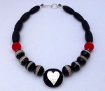 Large fused-glass heart pendant necklace with large beads