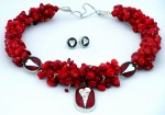 Necklace red coral with heart pendant