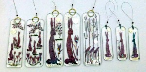 Hare and birds glass decorations