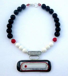 Necklace with sterling silver, onyx, coral, and fused-glass pendant