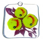 Glass art decoration with green apples