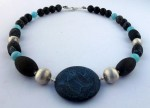 Sterling silver necklace with black and blue agates