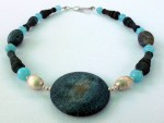 Black, Brown and Blue Agate Necklace