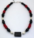 Sterling silver, black onyx, and red coral necklace