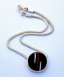 Sterling silver snake chain necklace with fused glass pendant