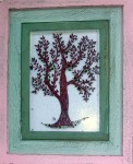 Fused glass apple tree with green apples in distressed wood frame