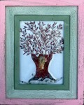 Fused glass olive tree in distressed wood frame