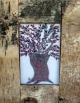 Fused glass olive tree in bark frame