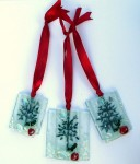 Three fused glass red apple trees (frosted) as pendants