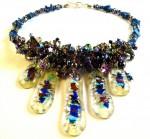 Necklace blue beads, 5 glass pendants