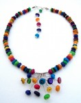 Necklace, dyed Mother of Pearl