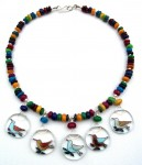 Necklace, dyed Mother of Pearl, nesting birds pendants