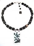 Necklace, jaspers sp stone, bush fused glass pendant