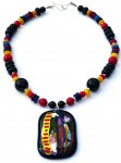 Necklace, onyx, dyed Mother of Pearl, glass pendants