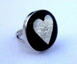 Fused-glass heart and sterling silver ring