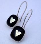 Dangling fused-glass heart earrings