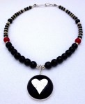 Large fused-glass heart pendant beaded necklace