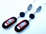 Dangling sterling silver earrings with handmade silver cabochon, onyx bead and a fused-glass pendant