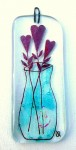 Fused-glass decoration vase with heart flowers