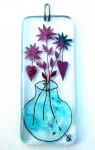 Fused-glass decoration vase with flowers and hearts