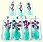 Large and small fused-glass Valentine's Day decorations with vase and flowers and hearts
