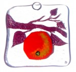 Glass art decoration with red apple
