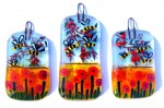 Glass decorations with poppy field, bees and apple branches