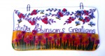Glass decorations with poppy field, bees and apple branches with text (large)